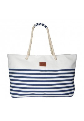 BEACH BAG LINES NAVY/WHITE